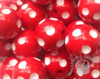 FREE UK P&P 16mm Red and White Polka Dot Acrylic Beads