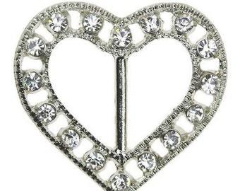 10 pack Unique Heart Rhinestone Ribbon Broach