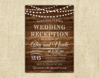 Wedding Reception Invitation. Rustic Wedding Reception Invitation. Custom Invitation. Light Bulb Invites. Wooden.