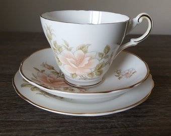 Regency English bone china peach pink floral trio pattern teacup saucer and side plate