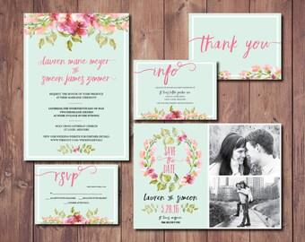 Boho Chic Wedding Invite, Boho Wedding Invitation Suite, Mint Green Wedding Invitation, Mint Wedding Save the Date, Printable Invitation