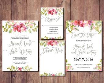 Printable Wedding Invite Suite, Pink Floral Wedding Invitation Suite, Destination Wedding Invitation Suite, Beach Wedding Invitation Kit