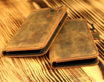 Samsung Galaxy S7 Wallet Case - Handmade Genuine Leather