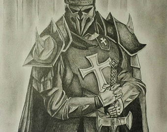Medieval Templar Knight--Drawing