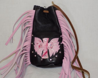 Pink Motorcycle Purse with Cross and Wings