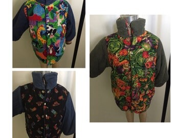 Hand crafted reversible Infant and toddler fall jacket