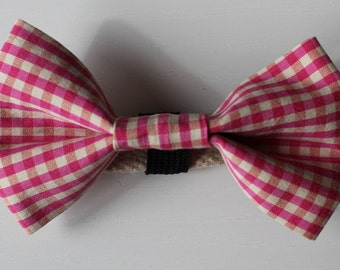 Candy Gingham Dog Bow Tie