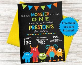 Little Monster Invite, Kids Birthday Invitation, Our little Monster, Birthday Party, Personalized