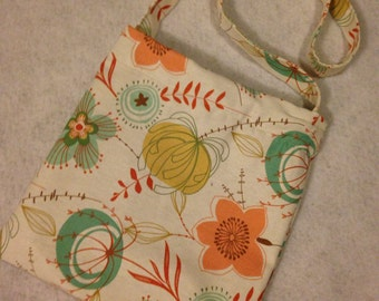 Flower canvas cross body bag
