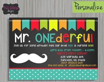 Mr. Onederful Invite, Mr. Onederful Invitation, Mr. Onederful Birthday, First Birthday, Boy First Birthday, Mustache Invite, DIGITAL FILE