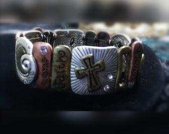 LOVE FAITH BELIEVE stretch bracelet