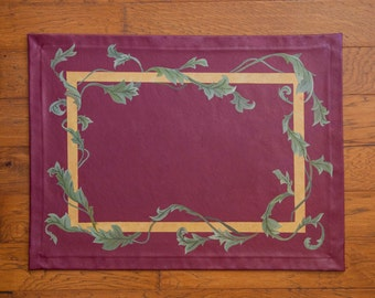 Maroon, Gold, and Olive Floor Cloth