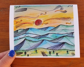 "Field at Sunset Mountains ""Let it Be"" Stationery Single Folded Card"