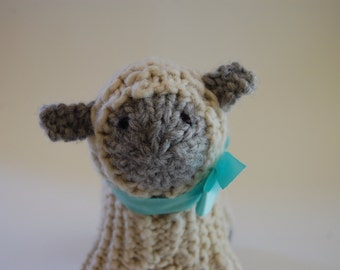 Ready to Ship, Wool Hand-Knitted Lamb