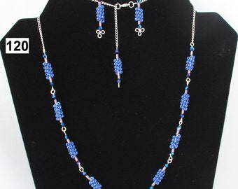 Blue Violet Coiled Necklace, Matching Earring Set, Blue Beads, Silver Plated Chain, Silver Plated Wire Work, Gift for Her, Christmas Gift