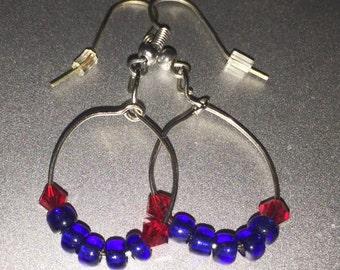 Red Swarovski Crystals & Blue Beads