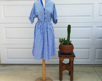 80's vintage blue and white striped dress