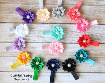 5 Partially Lined Alligator Hair Clips, Muti Layered Flower Hair Clips, Children Hair Clips, Baby Accessories