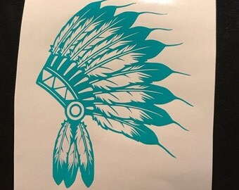 Indian Headdress Vinyl Decal | Car Window Sticker | Laptop Decal | Yeti Cup Decal