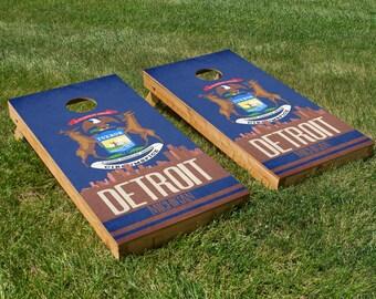 Detroit State Flag Skyline Cornhole Board Set