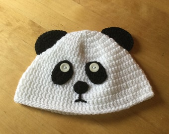 Crochet Panda Hat - 1-3 years toddler size - winter hat - made to order any size