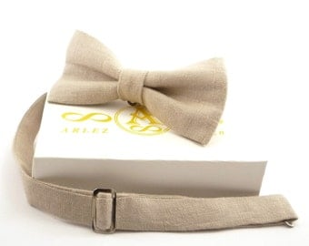 Beige Linen bow tie for Wedding, beige bow tie for groomsmen, boys, toddler's, baby's, men's beige linen Bow Tie