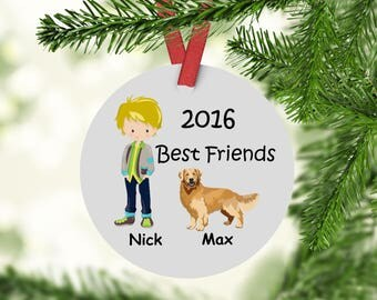 Best Friends Golden Retriever Ornament