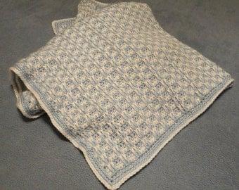 Crochet Baby Blanket, Blue and White