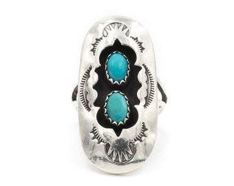 Vintage Native American Shadowbox Turquoise Ring