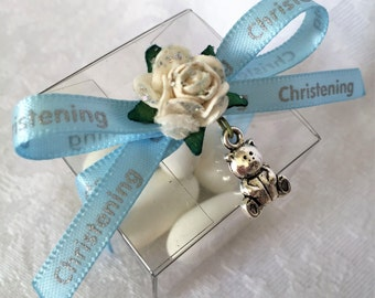 teddy bear charm favour box for a baby shower, christening, baptism, or 1st birthday party