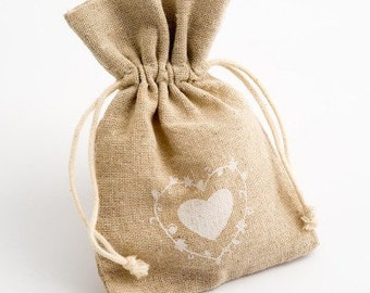 10 large heart design rustic hessian wedding favour bags