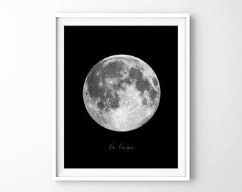 Full Moon in Black Background, Moon Photo, Moon Wall Art, Moon Photography, Large Moon Poster, Printable Download Digital Print JPG