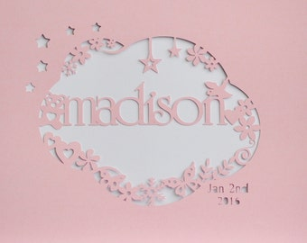 Personalised Baby Girl Birth Announcement