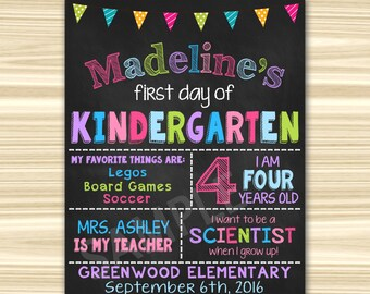 First Day Of School Sign Printable. First Day Of Kindergarten Sign. First Day Of  Preschool Sign Printable. Graduation Chalkboard Sign.