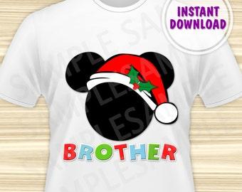 Christmas Mickey with Santa Hat Printable Iron On Transfer. Mickey Mouse Christmas Iron On Transfer. Mickey Christmas Brother. DIGITAL FILE.