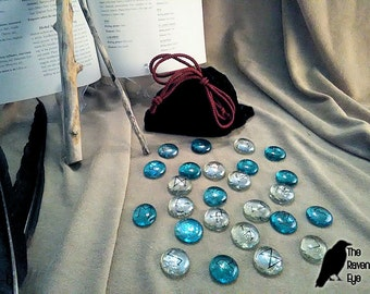 Glass Rune Stones - Clear & Blue