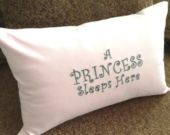 Princess Pillow Cover, Little Princess, Pink Pillow, Gift for Girl, Pink Princess, Bed Pillow, Custom Embroidery