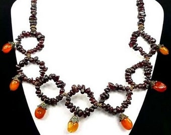Exclusive natural GARNET, CARNELIAN NECKLACE beads 19""