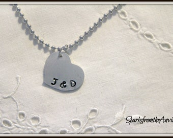 Personalized Jewelry-Hand Stamped-Heart Charm