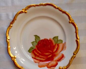 Red-orange rose on a porcelain plate