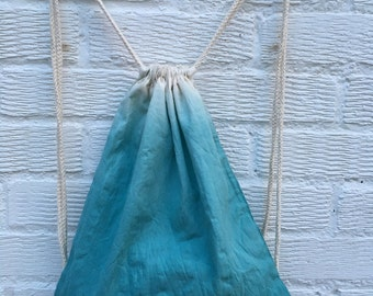 Emerald green ombre hand dyed bag