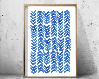 Blue Watercolor Painting Abstract Watercolor Minimalist Art Blue Dashes Arrows Geometric print Blue White Minimal Watercolor Large art print