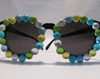 Embellished Sunglasses (Black circle frames with green, blue and clear circle accessories)