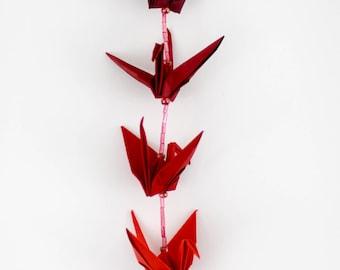Red Origami Crane Suncatcher