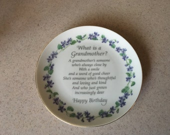 Grandmother Happy Birthday Plate