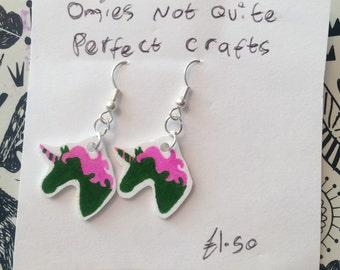 Green and pink unicorn earrings
