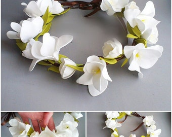 flower wreath, white wreath, hear accessory, bridal flower crown, bride white wreath, bridesmaids wreath, white wedding, gift for girl