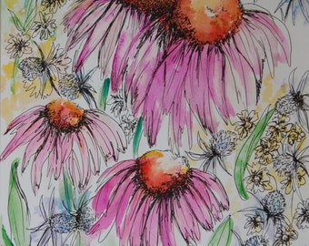 Original Watercolour, Watercolour Painting, Echinacea, Flower Picture, Birthday Gift, Anniversary Gift, Mother's Day Gift, Wedding Gift,