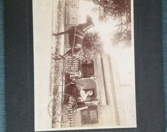 Victorian Cabinet Card, Vintage Photograph of Woman in Her Buggy with Horse