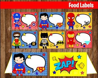 Superhero Food Labels, Printable Superhero food tent cards, Superhero Comics party food cards instant download